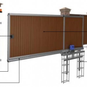 Схема откатных опорных ворот.