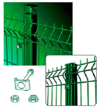 Схема крепления скобой сварных панелей «Fensys».